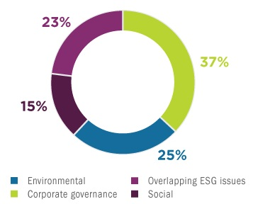 Environmental 25%; Corporate governance 37%; Overlapping ESG issues 23%; Social 15%